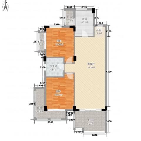 幸福里2室1厅1卫1厨88.23㎡户型图