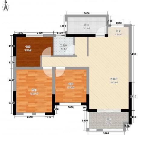 临商水岸明珠3室1厅1卫1厨72.54㎡户型图
