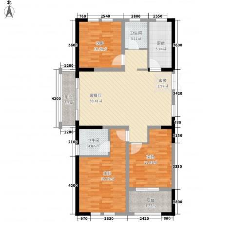 临商水岸明珠3室1厅2卫1厨89.15㎡户型图