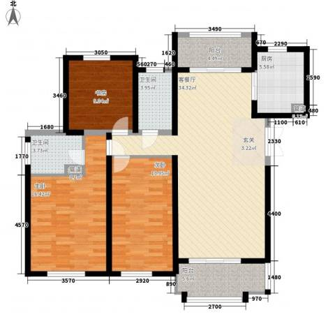 东方米兰国际城3室1厅2卫1厨140.00㎡户型图