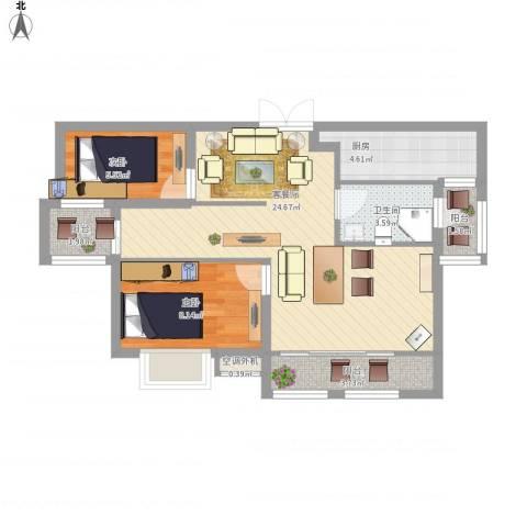 首钢首御2室1厅1卫1厨80.00㎡户型图