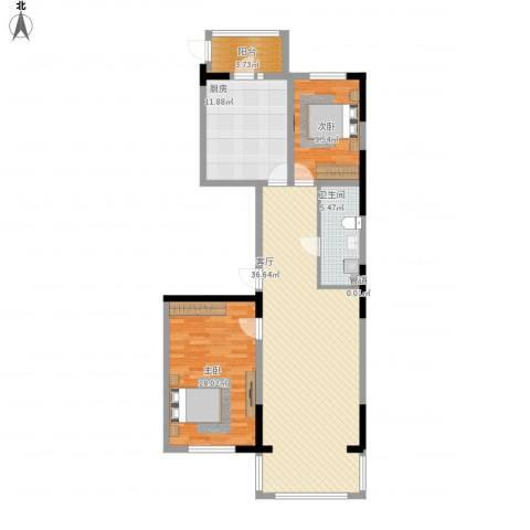 好民居康泰嘉园2室1厅2卫1厨121.00㎡户型图