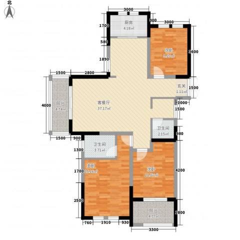 临商水岸明珠3室1厅2卫1厨92.22㎡户型图