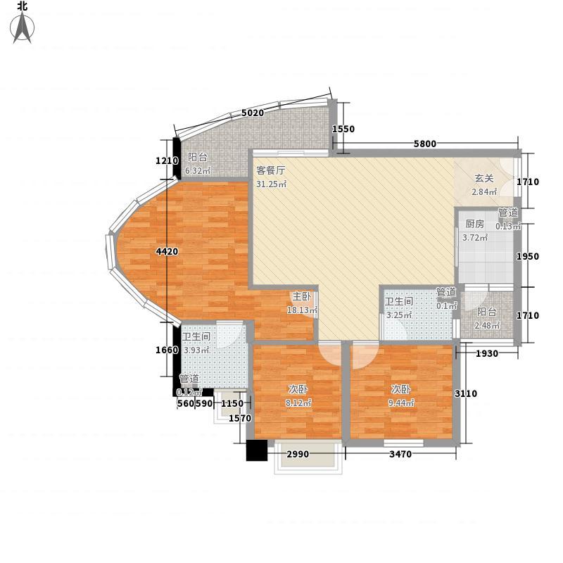 亿海湾123.16㎡1栋21-23f户型3室2厅2卫1厨