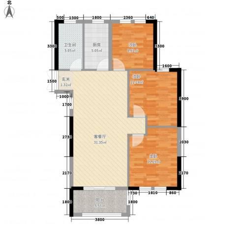 临商水岸明珠3室1厅1卫1厨79.15㎡户型图