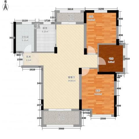 青年城1号3室1厅1卫1厨117.00㎡户型图