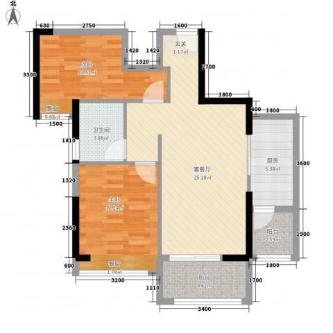 幸福里2室1厅1卫1厨83.00㎡户型图