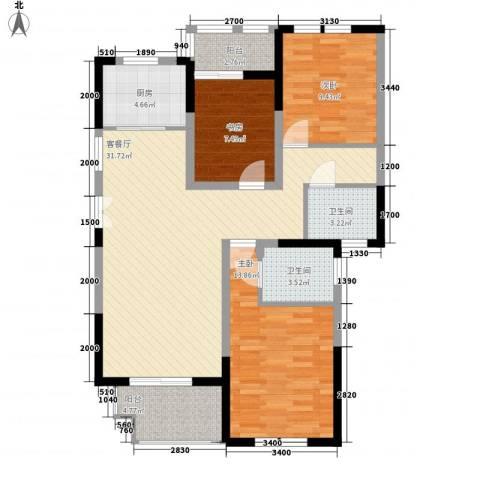 临商水岸明珠3室1厅2卫1厨117.00㎡户型图
