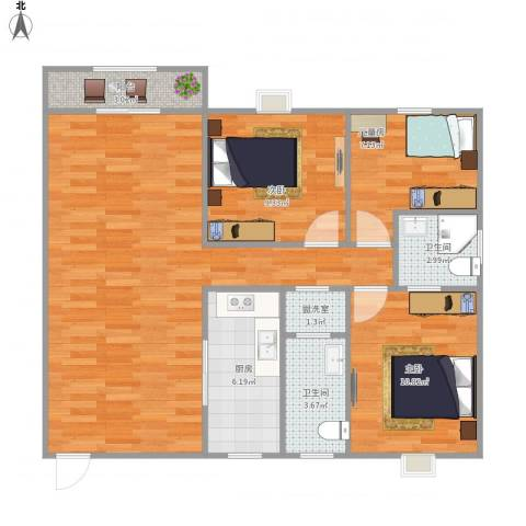 兰蒂斯城3室1厅2卫1厨61.00㎡户型图