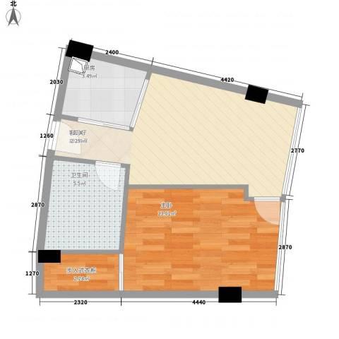 同方国际广场1室1厅1卫1厨56.00㎡户型图