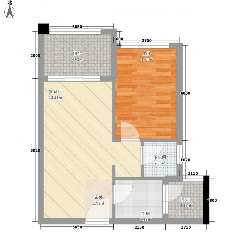 中国草海国际养生基地5.22㎡公寓2号楼B户型1室2厅1卫1厨