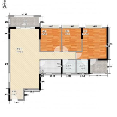 新园华府3室1厅2卫1厨117.00㎡户型图