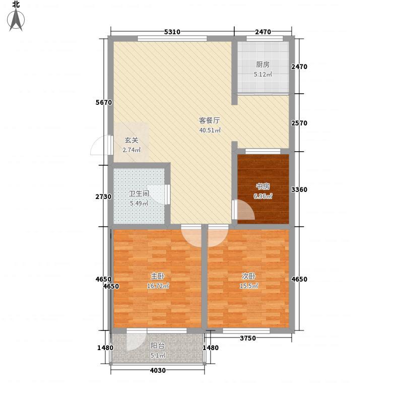 天福花园134.55㎡一期多层B3F户型3室2厅1卫
