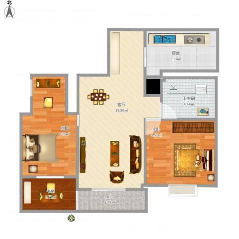 卧龙五洲世纪城3室1厅1卫1厨77.00㎡户型图