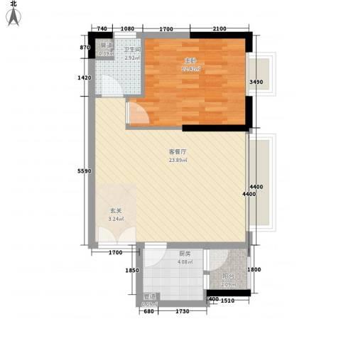 响水明苑1室1厅1卫1厨64.00㎡户型图