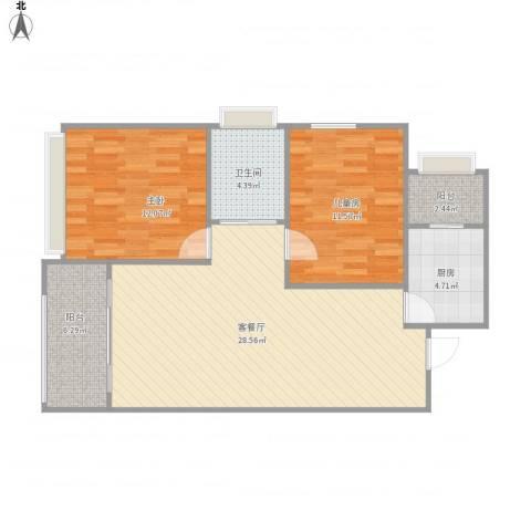 麻城摩尔城2室1厅1卫1厨93.00㎡户型图