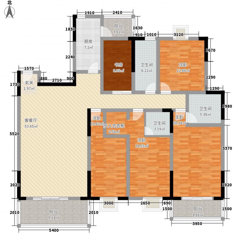 汇富名苑215.36㎡A栋D户型5室2厅3卫1厨