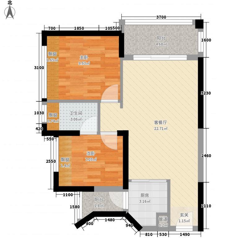 银创・峰景四季6.17㎡1座01户型2室2厅1卫1厨