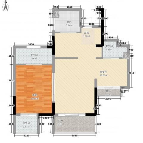 万科棠樾1室1厅3卫1厨100.00㎡户型图