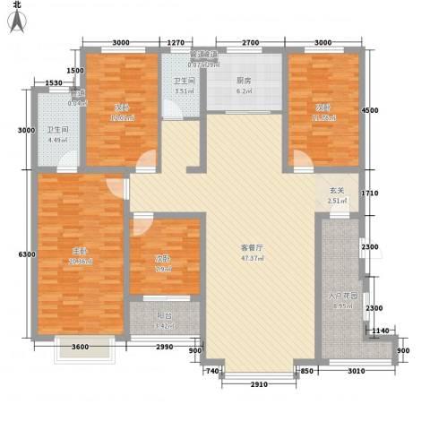 祥荣・香榭名筑4室1厅2卫1厨153.00㎡户型图