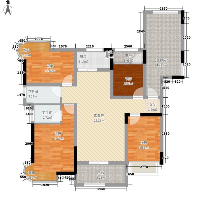 阳明公馆13.00㎡A1户型4室2厅2卫