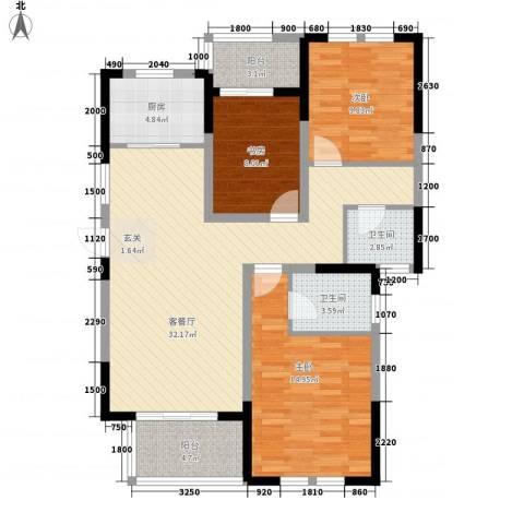 临商水岸明珠3室1厅2卫1厨121.00㎡户型图
