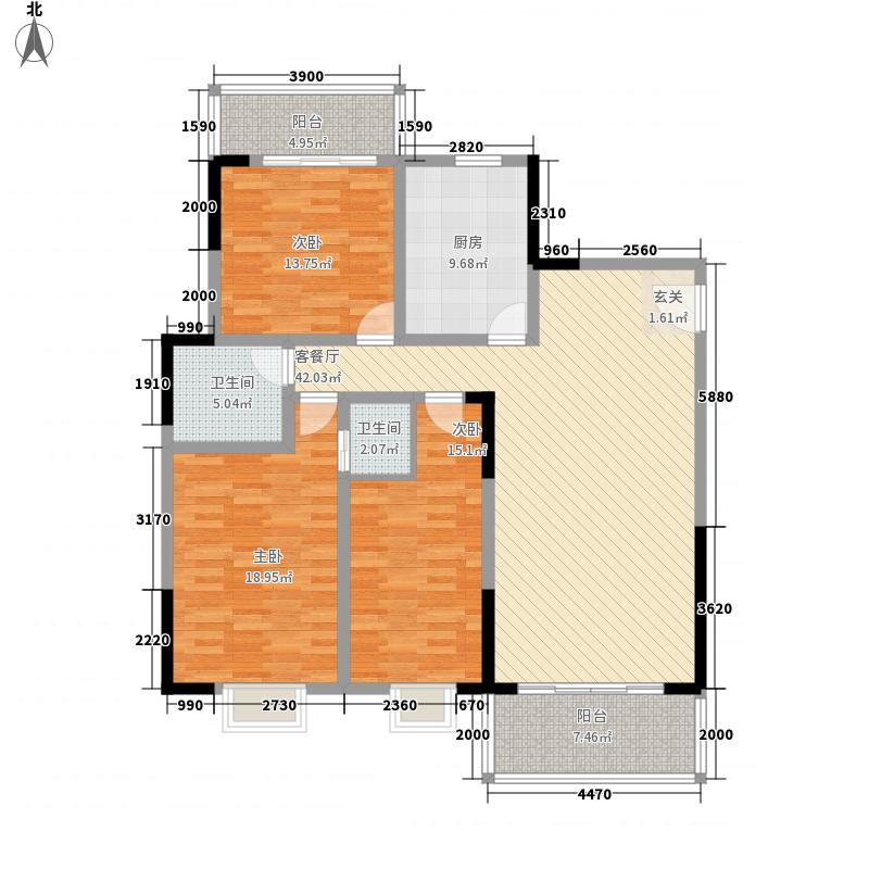 汇富名苑156.60㎡B栋H户型3室2厅2卫1厨