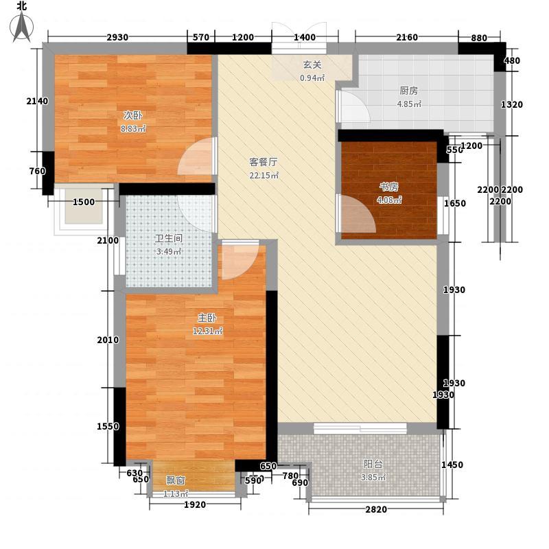 朗诗里程8.00㎡19、20号楼S户型3室2厅1卫1厨