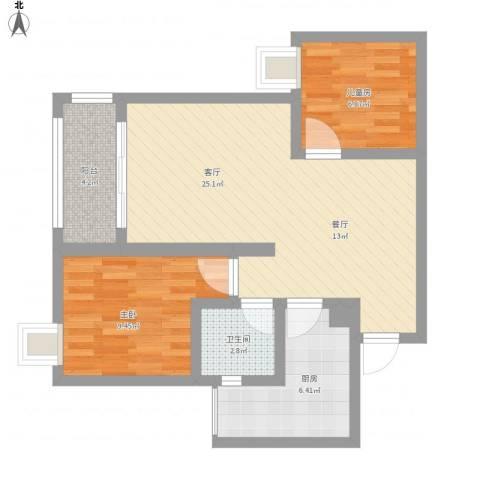 璧山金科中央公园城2室1厅1卫1厨81.00㎡户型图