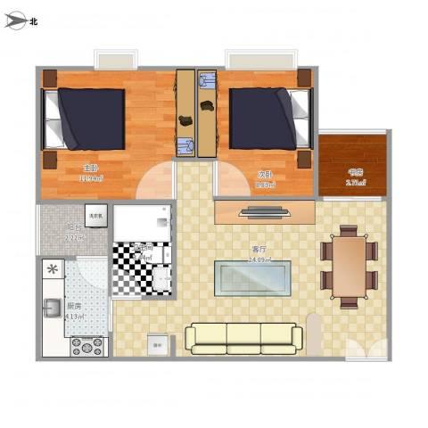 岭南花园3室1厅1卫1厨78.00㎡户型图