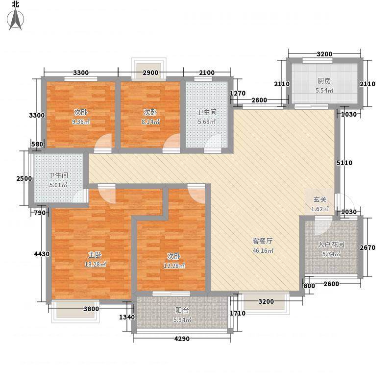 义和花园133.50㎡C1伯爵(西)户型4室2厅2卫1厨