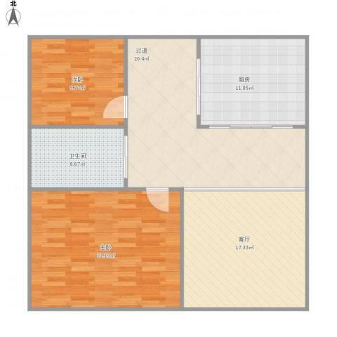 新中新村2室1厅1卫1厨115.00㎡户型图