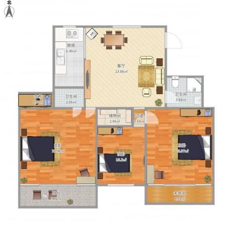 祥云公寓3室1厅2卫1厨136.00㎡户型图