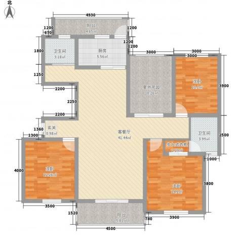 南湖林语3室1厅2卫1厨414.00㎡户型图