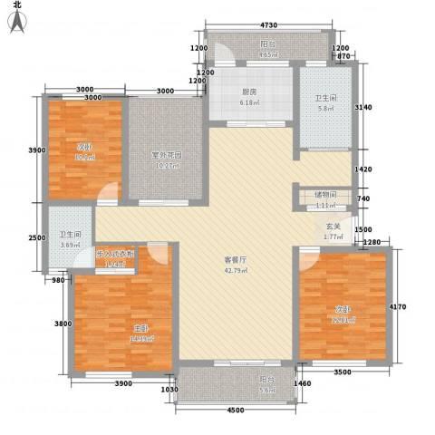南湖林语3室1厅2卫1厨4145.00㎡户型图