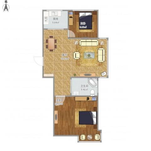 世纪阳光2室1厅1卫1厨101.00㎡户型图