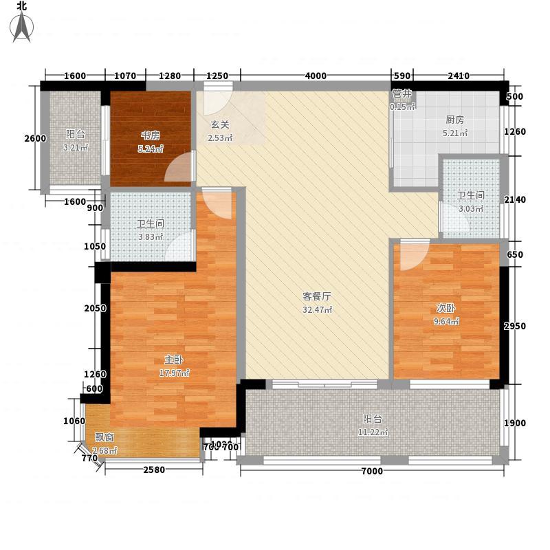 华生中心12.00㎡7#B座02单元户型3室2厅2卫1厨
