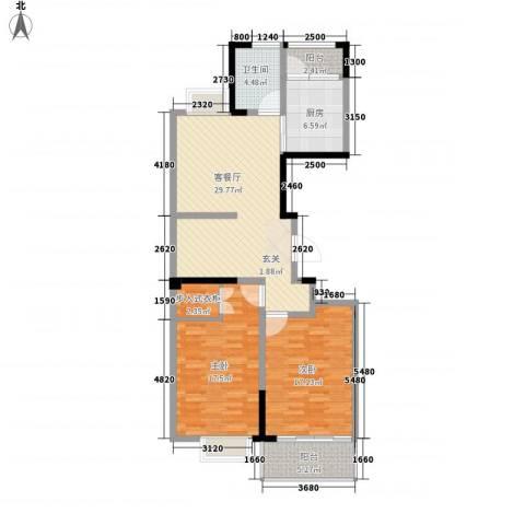 兴业・王府花园二期2室1厅1卫1厨85.49㎡户型图