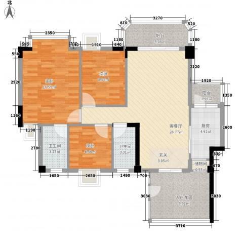 御景华城3室1厅2卫1厨125.00㎡户型图