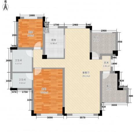 金鹏・爱丽舍宫2室1厅2卫1厨92.01㎡户型图