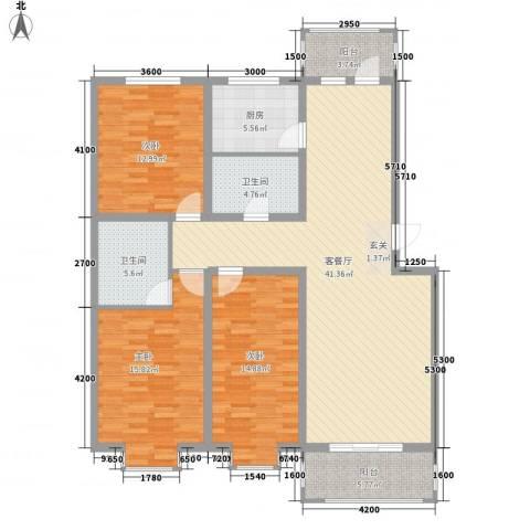 普罗旺斯庄园3室1厅2卫1厨156.00㎡户型图
