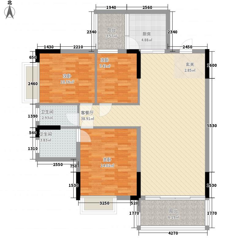 富丽名苑11.57㎡T6#-02户型3室2厅2卫1厨