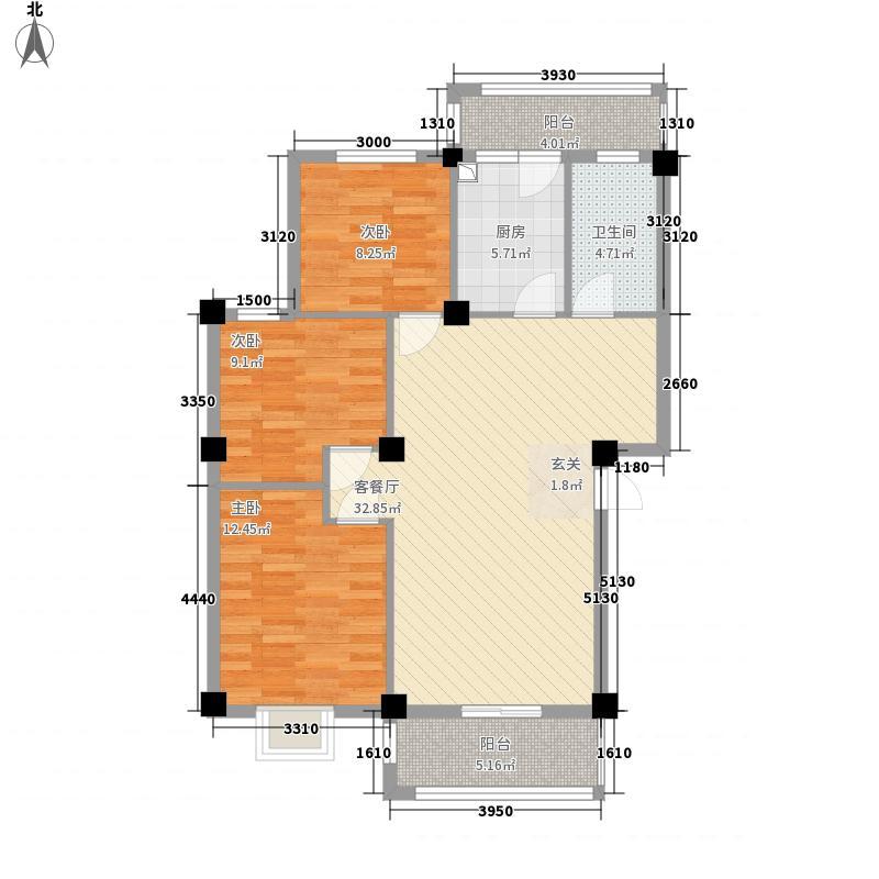 舒欣苑6.84㎡户型3室2厅1卫