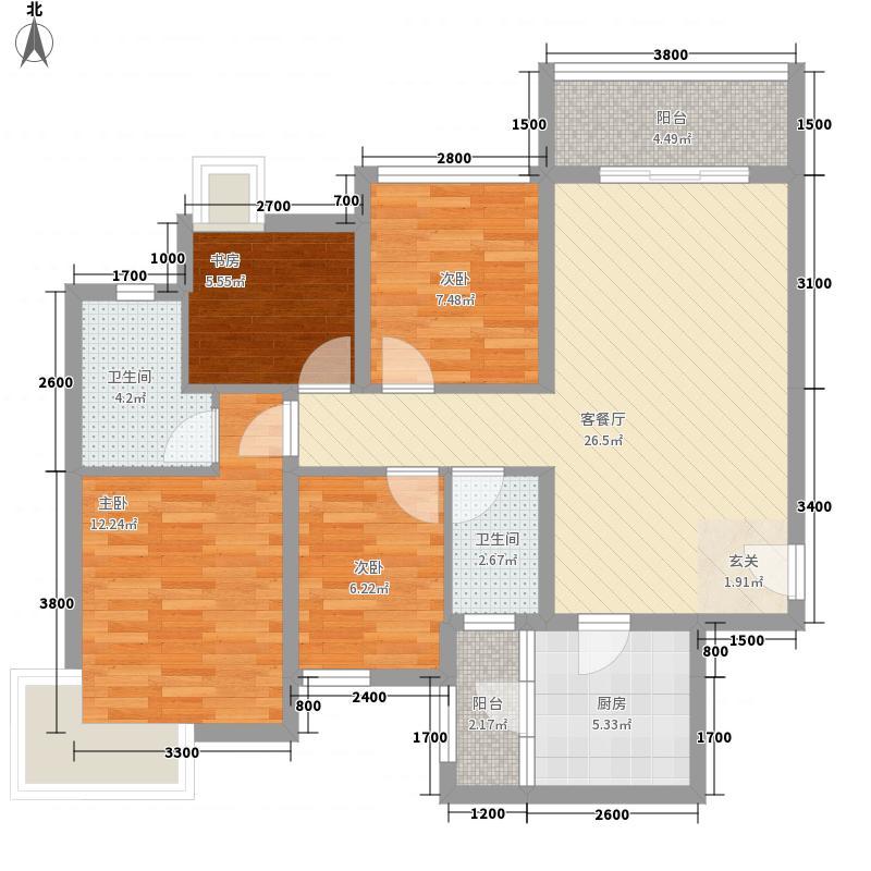 仁和春天国际2.20㎡C2户型4室2厅2卫1厨
