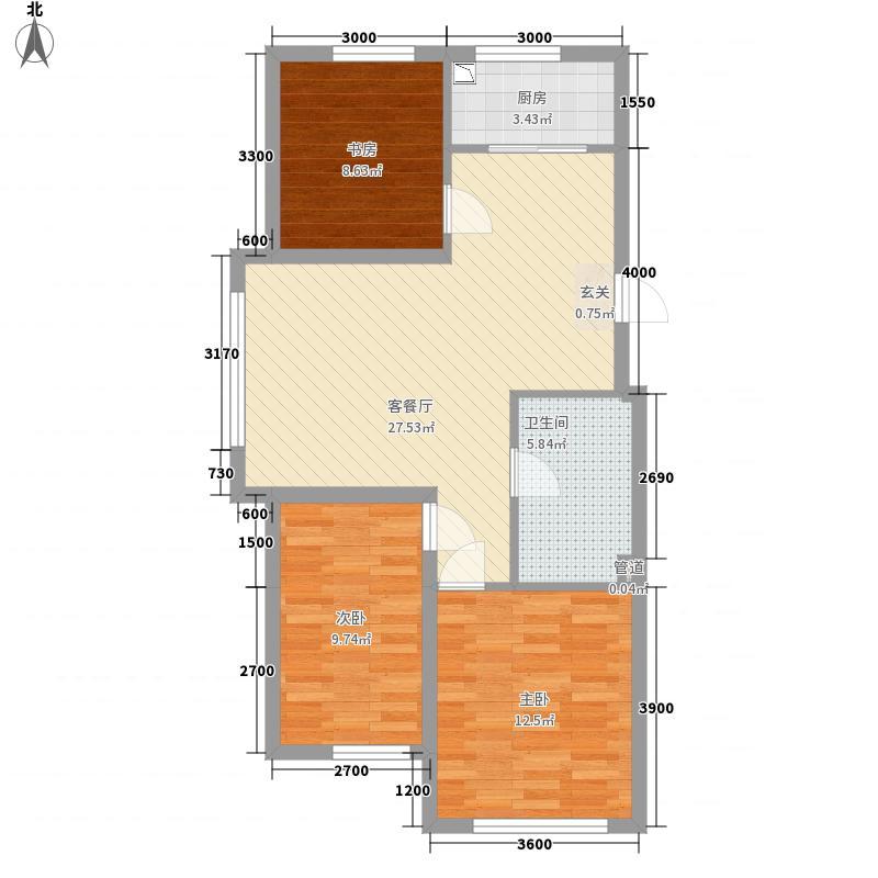 宏业枫华4.00㎡户型3室2厅1卫