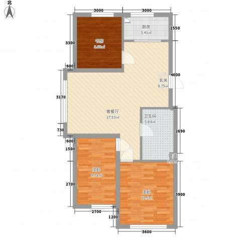 宏业枫华3室1厅1卫1厨67.98㎡户型图