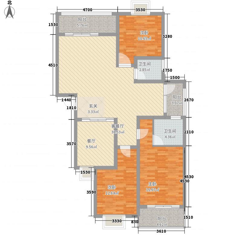 玉虹城123.48㎡4#2号户型3室2厅2卫1厨