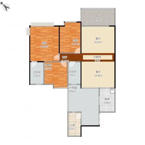 鹏达・丽水湾3室1厅2卫1厨173.00㎡户型图