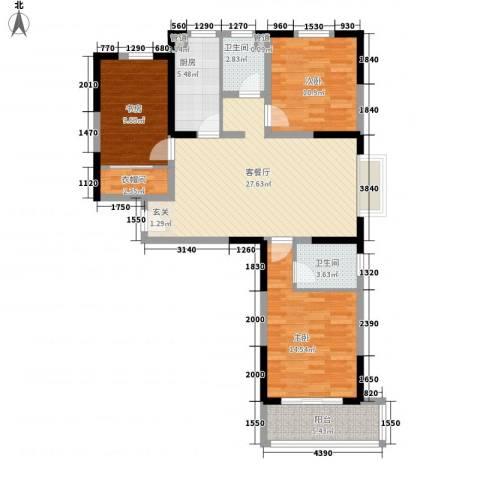 德洋国际广场3室1厅2卫1厨82.66㎡户型图