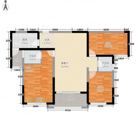 中国铁建领秀城3室1厅2卫1厨105.92㎡户型图